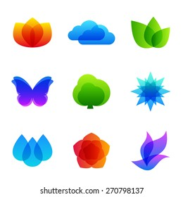 Colored nature icon set - fire, cloud, leaves, butterfly, tree, snowflake, drops, flower and bird