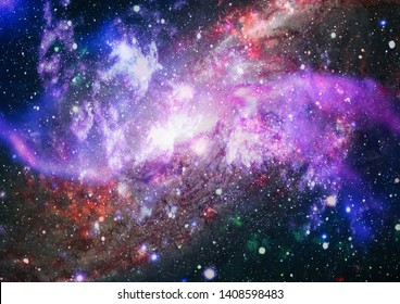 Colored nebula and open cluster of stars in the universe. Elements of this image furnished by NASA