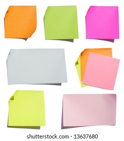 Colored note papers. Hard shadows.
