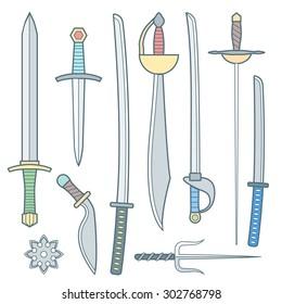 colored outline cold medieval weapons set with sword falchion glaive steel dagger dirk whiner saber saber sword katana bokken trident sai shrunken star