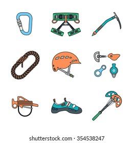 colored outline various climbing gear carabiner harness helmet rope shoes belay cam bolt hanger hold descender pulley ice axe icons set white background