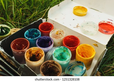 colored paint gouache in a box