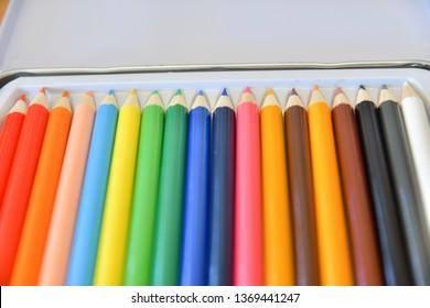 colored pancils, desk scape