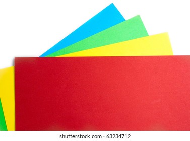 Colored paper isolated on white