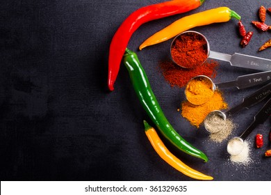 Colored paprika and spices in scoop with copy space.