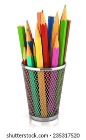Colored pencils in basket isolated on white background