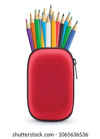 Colored pencils in case isolated on white. Realistic 3d illustration