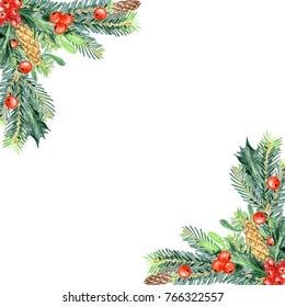 Colored pencils Christmas decorations for design. Spruce, cones, holly, mistletoe. Corner.