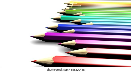 Colored pencils in chromatic row. 3D Rendering. Isolated.