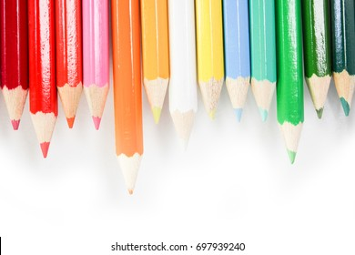 colored pencils for drawing on a white background