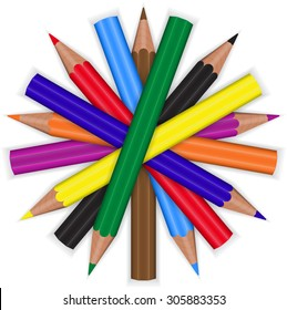 colored pencils are in the form of a circle on a white background