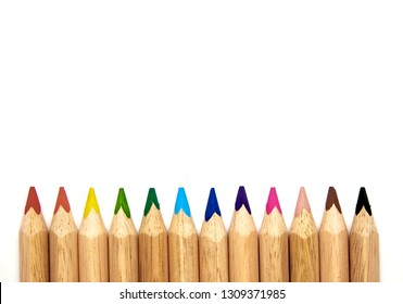 colored pencils in a group ready to use