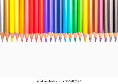 Colored pencils, isolated on the white background.