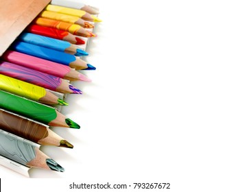 Colored pencils isolated on white background. Colour pencils.
