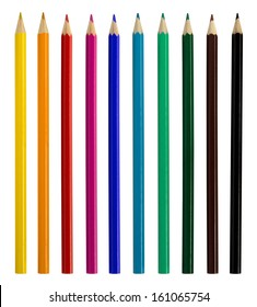Colored pencils isolated over white background