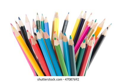 colored pencils isolated over white