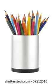 Colored pencils in a jar