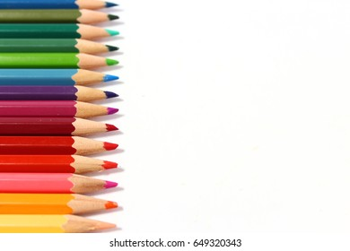Colored pencils in a line up