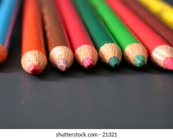 Colored pencils, looking directly at the tips.
