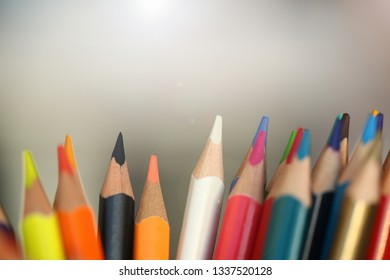 colored pencils many different opinions educational concept of studying fine art