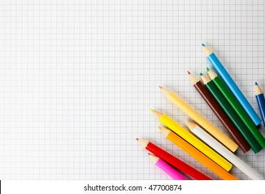 Colored pencils on a plotting paper