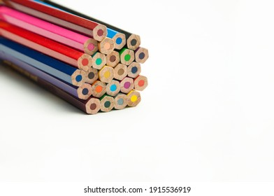 colored pencils on a white background. education concept. illustration of training.