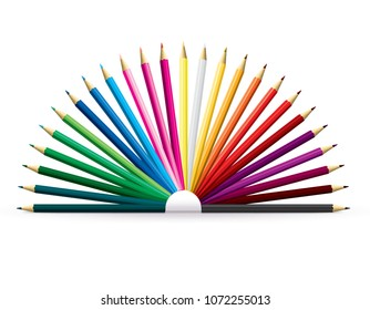 Colored pencils set isolated on a white. 3d illustration