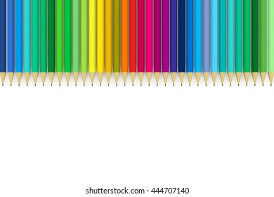 colored pencils with text space 3D illustration