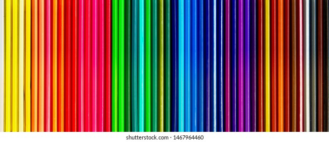 Colored pencils of various colors, Color background and texture