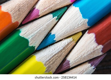 Colored pencils. Very shallow depth of field. Focus on blue pencil leads