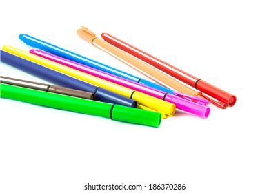 Colored pens isolated on white background
