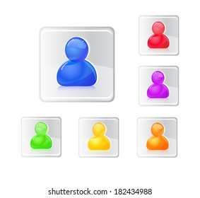 Colored people icon set. Illustration isolated on white.