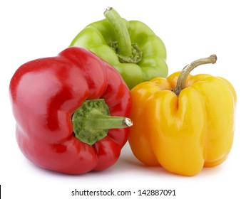 Colored Peppers Isolated On White Background