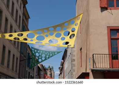 colored perforated colored sheet flag canvas stretched in town