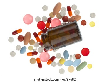 Colored pills spilled around