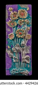 colored plaster painting, floral patterns, carved decoration