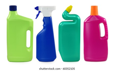 Colored plastic bottles isolated on white background