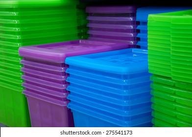Colored plastic containers