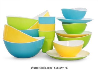 Colored plastic kitchen tableware isolated on white background