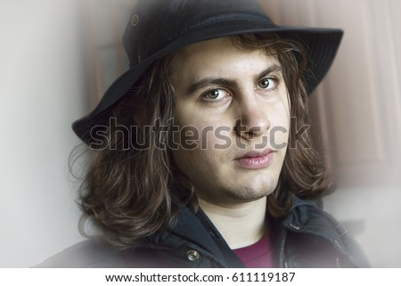 df9dd0df87a Colored Portrait Young Man Hat Long Stock Photo (Edit Now) 611119187 ...