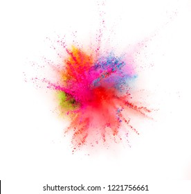 Colored powder explosion isolated on white background. Freeze motion.