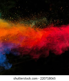 Colored powder isolated on black background