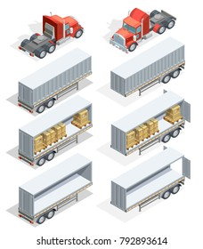 Colored and realistic truck isometric icon set with truck carrying loads and several types of trailers  illustration