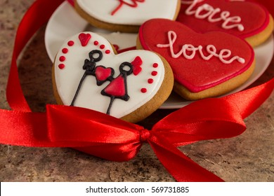 Colored red and white heart cookies on Valentine's day.