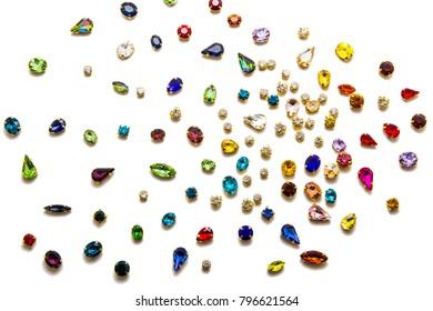 Colored rhinestones isolated on white