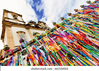Colored ribbons tied in the grate of the Church of Our Lord of Bonfim in Salvador, Brazil