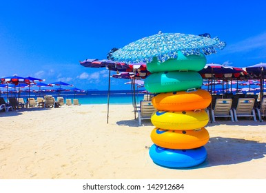 Colored ring on the beach at coral island or Koh Larn ,Pattaya T