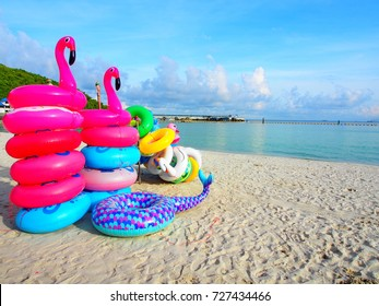 Colored ring on the beach at coral island or Koh Larn ,Pattaya Thailand