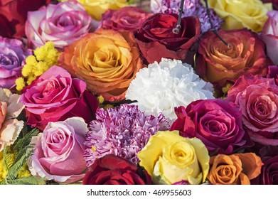 Colored rose bouquet