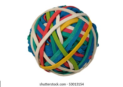 Colored Rubberband Ball isolated over a white background with clipping path